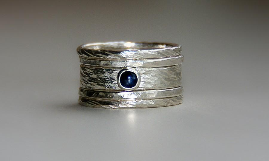 Blue Sapphire Engagement Ring Wedding Band Set Sterling Silver