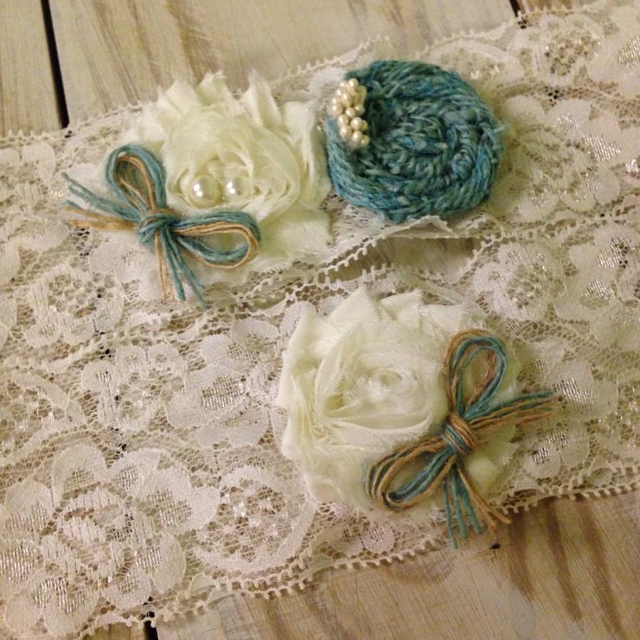 Hochzeit - garter, rustic garter, burlap garter, turquoise garter set, blue garter, something blue, fall garter