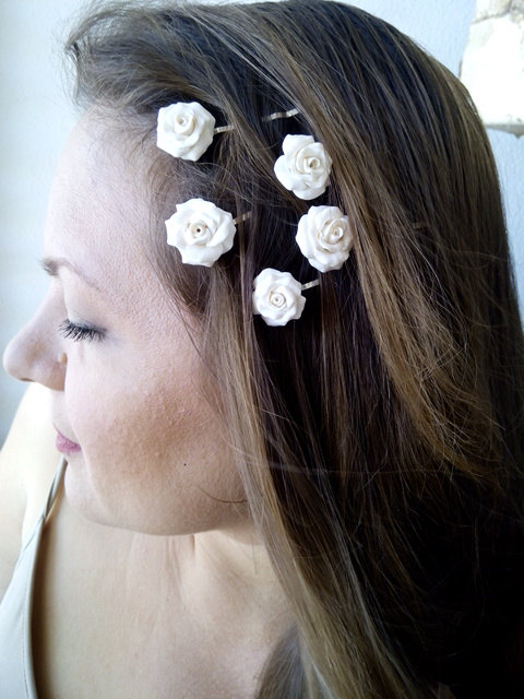 Mariage - Flower clips, Bridal hair clips, Wedding flower pins, White rose bobby pins - set of five, Bridesmaid Jewelry