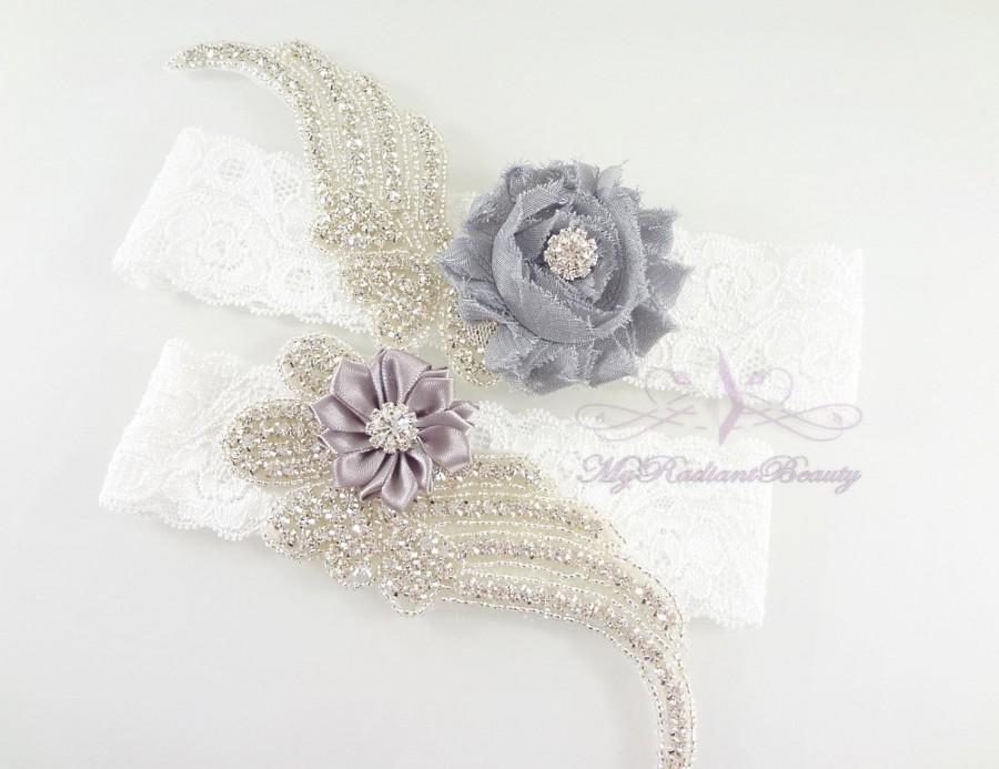 Hochzeit - Bridal Garter, Wedding Garter, Sexy Garter, Crystal Flower Garter, Bridal Flower Garter, Handmade Custom Garter, Beaded Garter GTF0008G