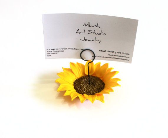 Hochzeit - Place Card Holders Sunflower, Table of Table Decor, Sunflower Wedding, Rustic Wedding Decor, Wedding Table Flowers set of 10