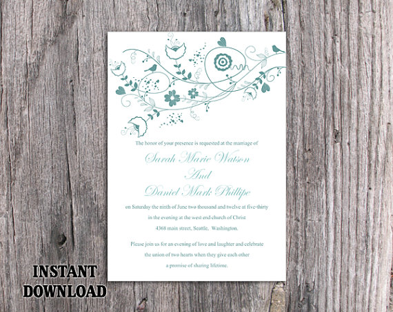 Wedding - DIY Wedding Invitation Template Editable Word File Instant Download Floral Wedding Invitation Bird Invitation Printable Blue Invitations