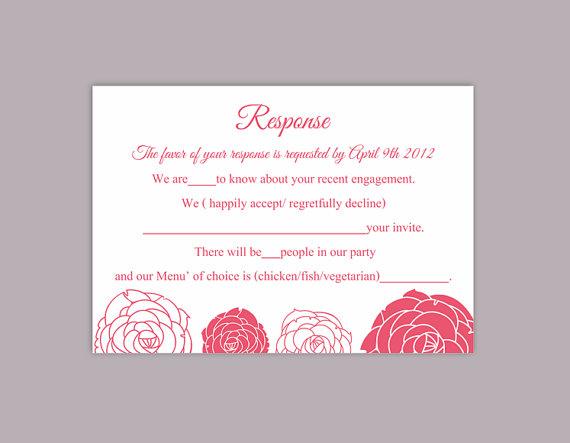 Hochzeit - DIY Wedding RSVP Template Editable Word File Download Rsvp Template Printable RSVP Cards Fuchsia Pink Rsvp Card Rose Floral Rsvp Card