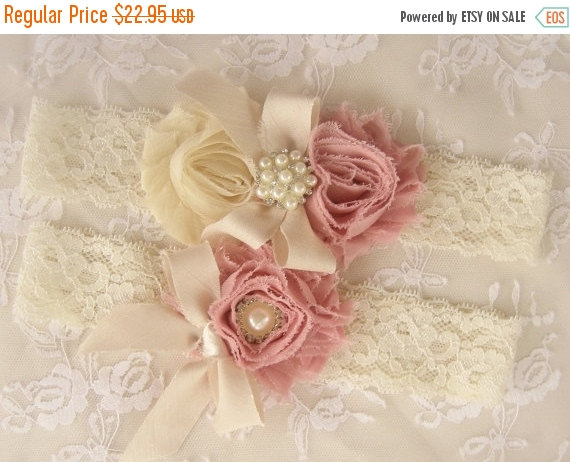 Hochzeit - FALL SALE Wedding Garter  Bridal Garter Heirloom Rose Set with Toss Garter Heirloom Rose and Tea Stained Ivory with Rhinestones and Pearls