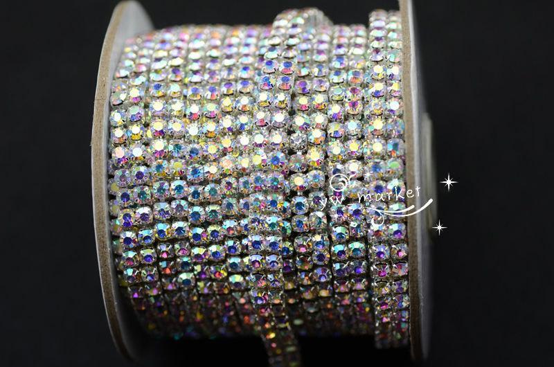 Hochzeit - 2-row AB crystal rhinestone silver chain trim DIY wedding cake decor 1 yard