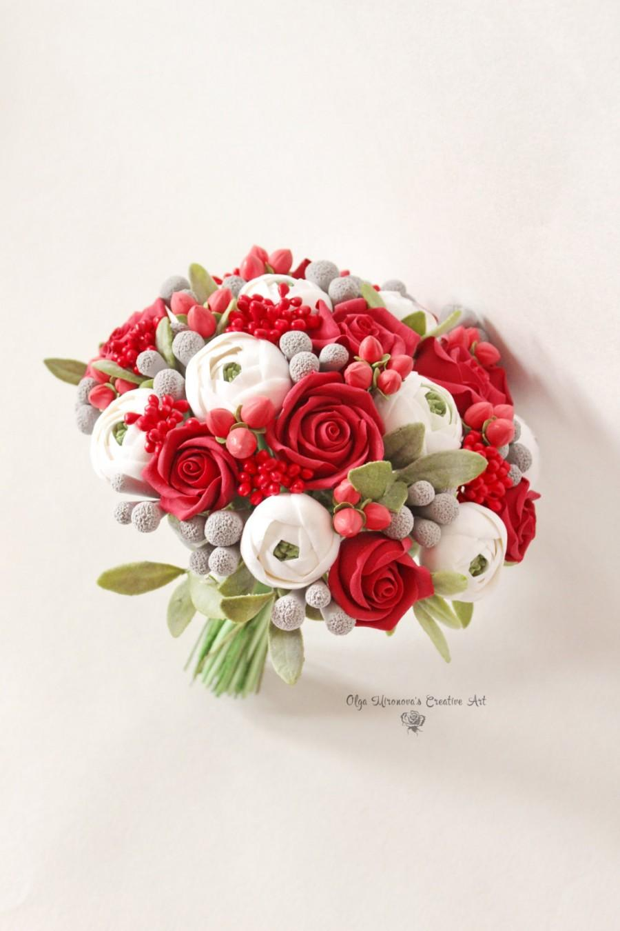 Alternative Wedding Bouquet Keepsake Red Roses Bridal Clay Flowers Berries Toss White