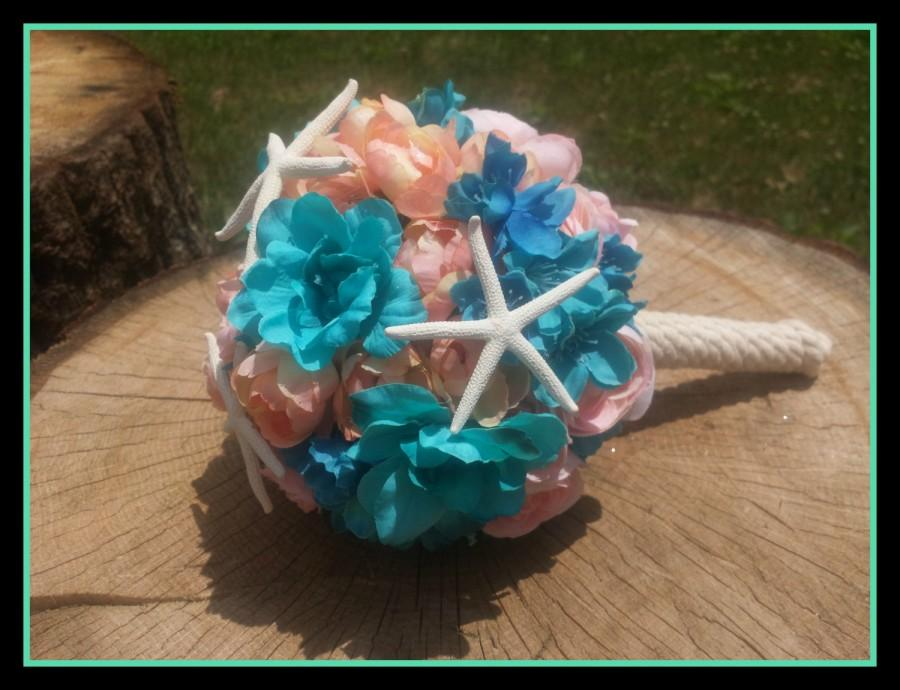 Свадьба - Starfish Bouquet, beach bouquet, pink and turquoise bouquet, bridesmaid bouquet, bridal bouquet, turquoise wedding, beach wedding, finger
