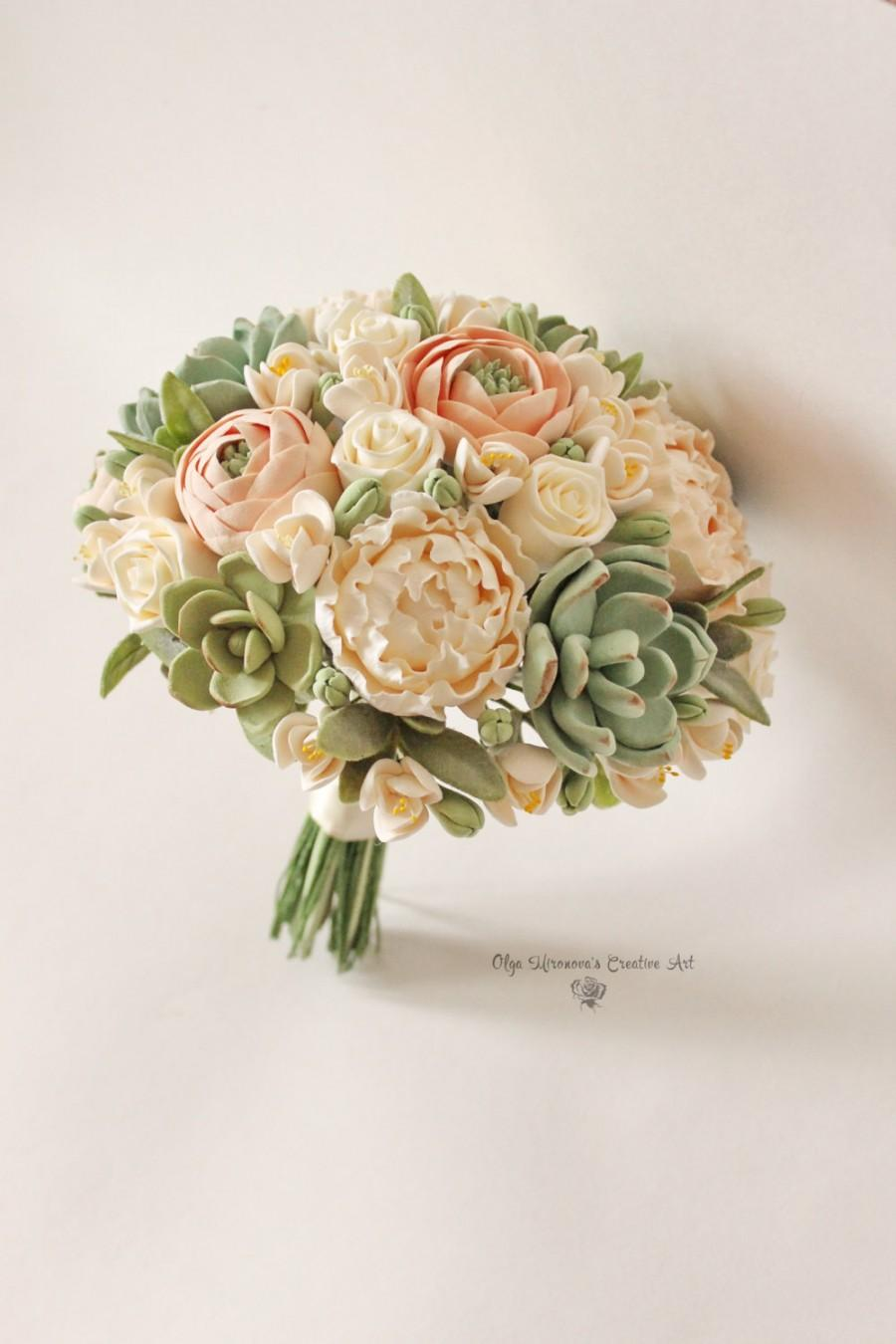 Set Peach Blush Peonies Green Succulents Bridal Bouquet Clay Flowers