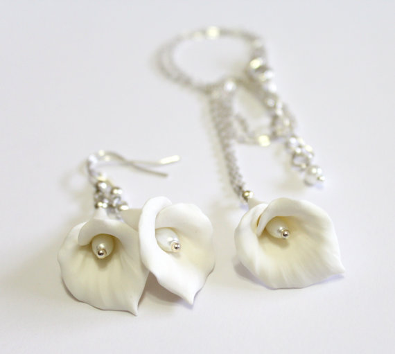 Wedding - White Calla Lilies Set - Calla Lilies Jewelry Set - Gifts - White Calla Lilies Bridesmaid, Necklace, Bridesmaid Jewelry Set