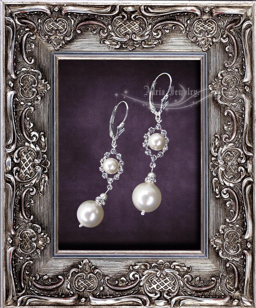 Hochzeit - Ivory Pearl Rhinestone Wedding Earrings, Swarovski Bridal Earrings