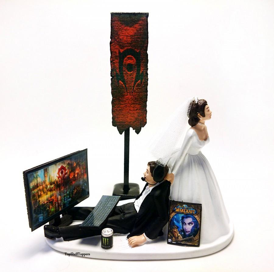 زفاف - Funny Wedding Cake GamerTopper Bride and Groom Custom WOW HORDE