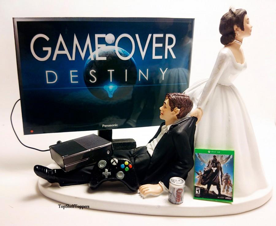 Свадьба - Wedding Cake Topper Video Game DEST Game Over Bride and Groom Xbox one/PS4