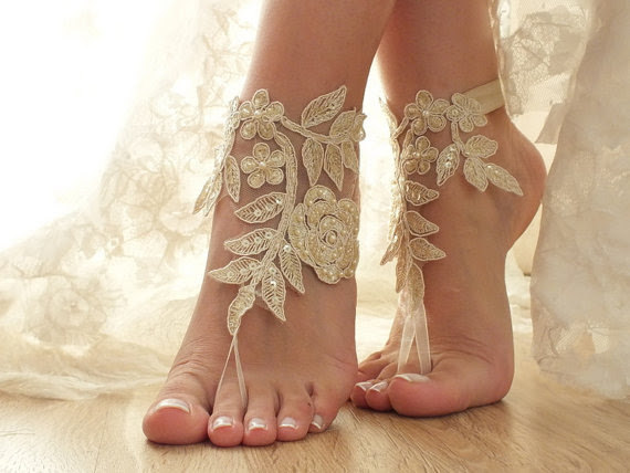 Mariage - champagne beach wedding bridal accessories lace anklets bridal jewelry beaded scaly pearls bridesmaid gifts bridal shoes barefoot sandals