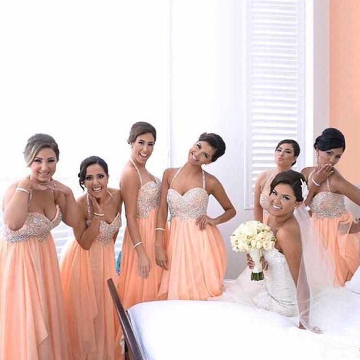 Hochzeit - Beatiful Junior Young Girls Halter Sweet Heart Chiffon Inexpensive Long Bridesmaid Dresses For Wedding Party, WG145