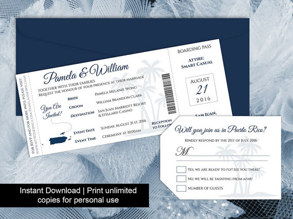 Diy Printable Wedding Boarding Pass Luggage Tag Template #2595388