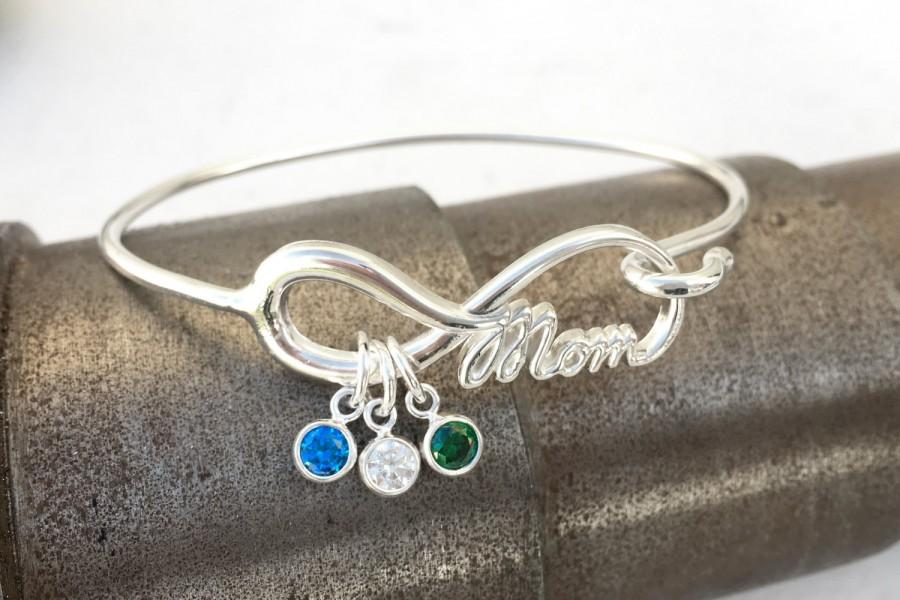 Mom Infinity Bangle Bracelet Mothers Charm Mother Of The Bride Gift Family Gemstone