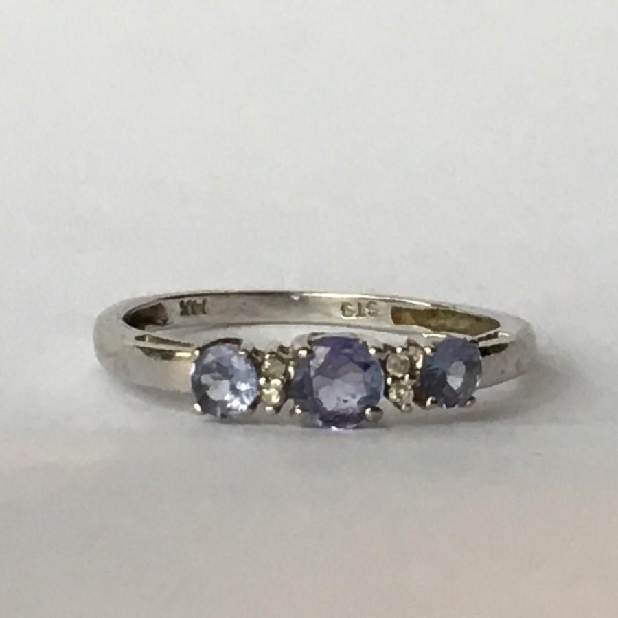 Mariage - Vintage Tanzanite Ring with Diamond Accents set in 14K White Gold. Wedding Band. Engagement Ring. December Birthstone. 24th Anniversary Gift