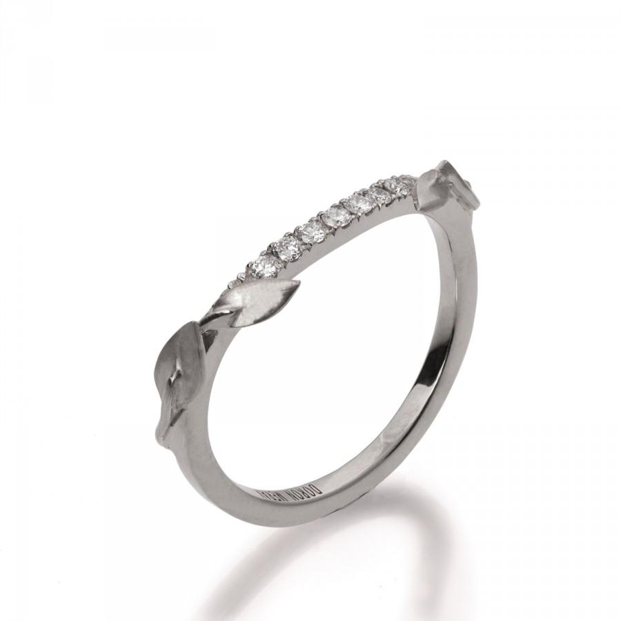 Mariage - Half Eternity Leaves Ring, 18K White Gold and diamond Ring, Diamond Band, Eternity Ring, Eternity Band,Half Eternity leaf Band,leaves Band,3
