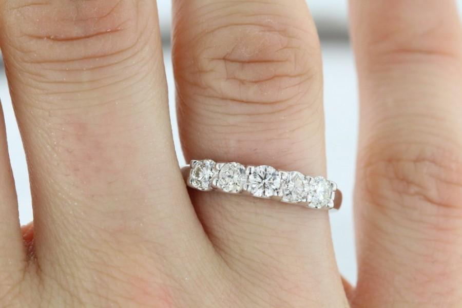 Mariage - 5Diam-1.00ct F VS2 Diamond Wedding Ring  5Stone U-Shape Prong 14k White Gold Setting Ring Women's Anniversary Band