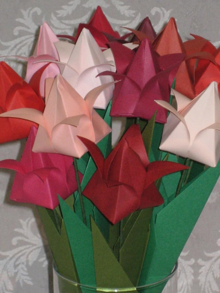 Tulips Shades Of Red Origami Flower Arrangement 2595409 Weddbook