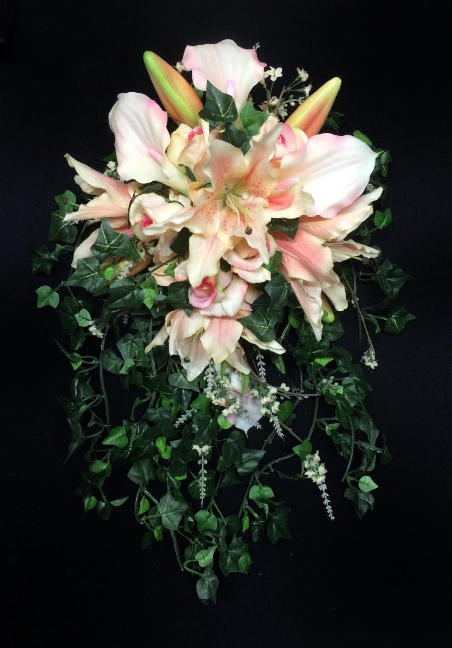 Quick ship cascading brides bouquet with tiger lilies roses and quick ship cascading brides bouquet with tiger lilies roses and calla lilies in shades of blush and peach with english ivy izmirmasajfo Images