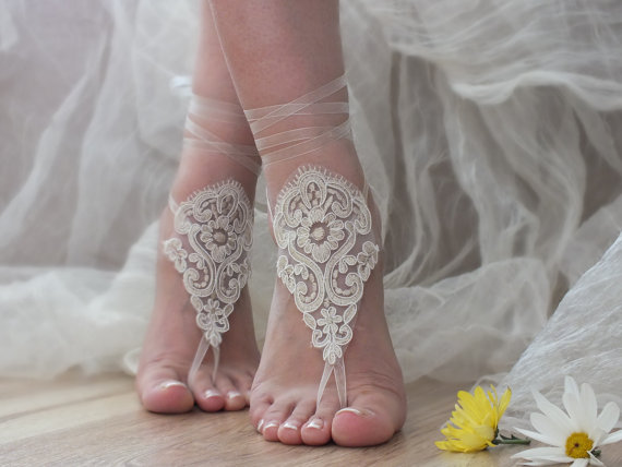 Hochzeit - tan or ivory beach wedding barefoot sandals lace anklets bridal jewelry bridesmaid gifts bridal shoes barefoot sandals