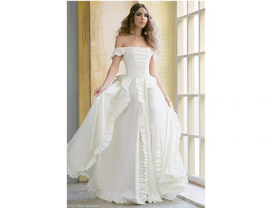 Leila-cotton Wedding Dress Beach Wedding Gown With Ruffles ...