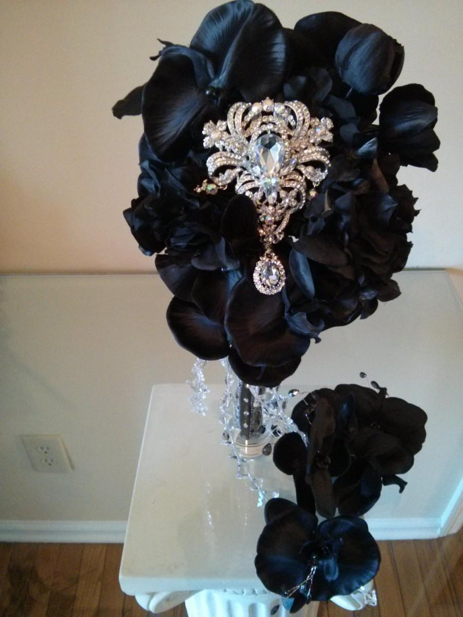 Mariage - Elegant Black Orchids Brooch Bouquet