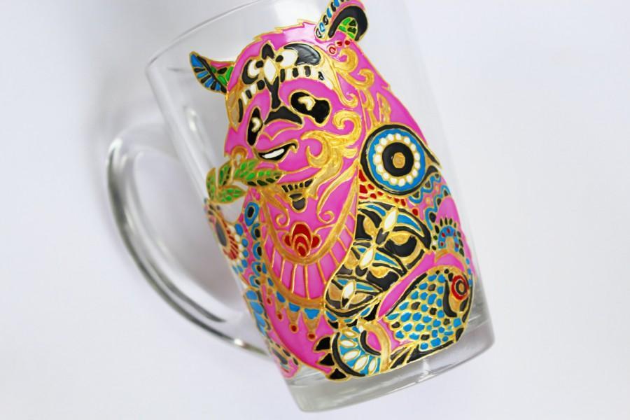Свадьба - Panda Mug Coffee Mug Hand Painted Mugs Glass Coffee Mug Funny Coffee Mug Colorful Coffee Mug Gift Custom Mugs