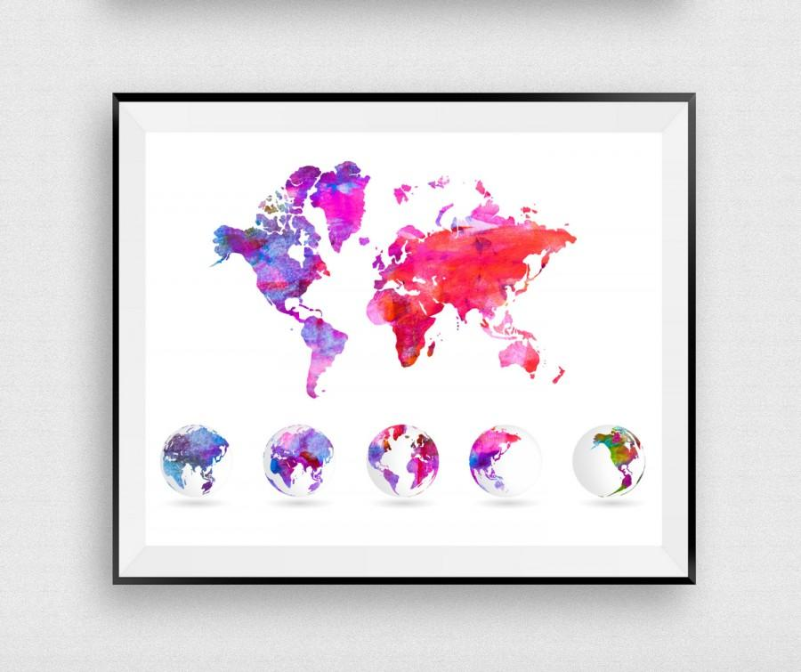 World map globe wanderlust print watercolor map world map poster world map globe wanderlust print watercolor map world map poster home decor digital print modern wall decor art instantdownloadart1 gumiabroncs Image collections
