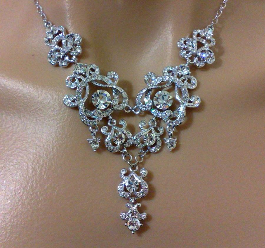 Mariage - Statement Bridal Necklace, Chandelier Wedding Necklace, Old Hollywood Wedding Jewelry, Vintage Style Victorian Bridal Jewelry, YOHANNA
