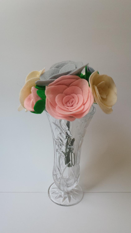 Felt Flower Bouquet- Pink- Gray- Off White- Roses- DIY Wedding ...