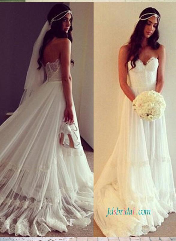 Wedding - Ethereal boho wedding dress with lace sweetheart bodice