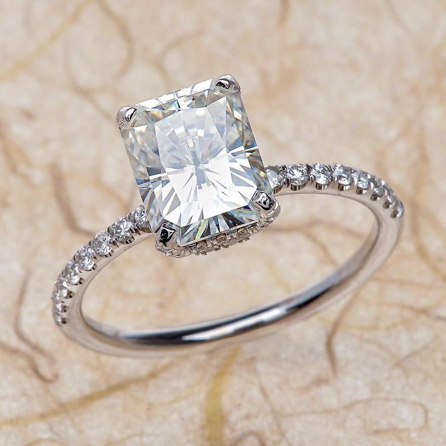 14k Radiant Cut Moissanite Engagement Ring Center 8x6 Fb