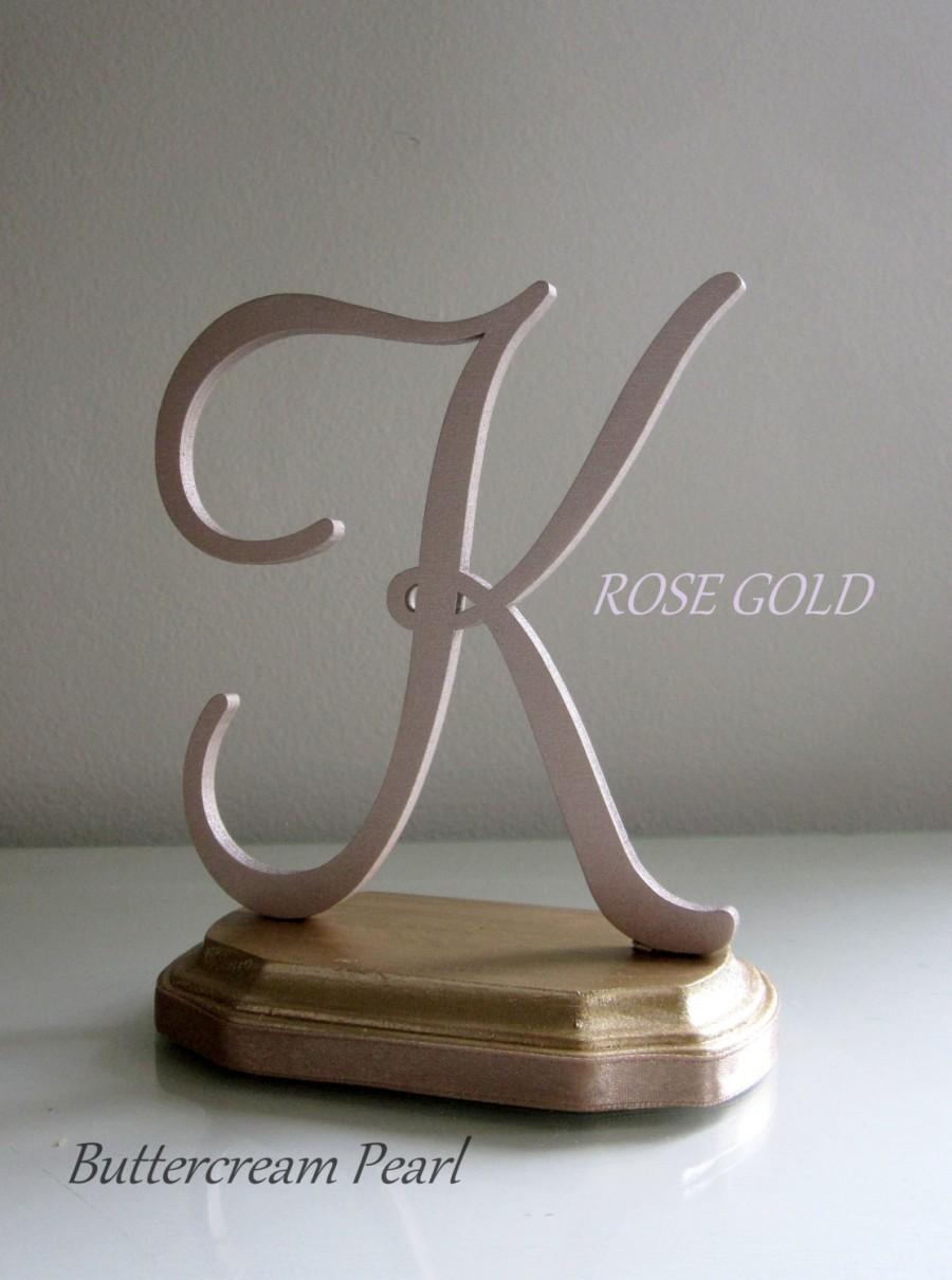 Mariage - Rose Gold Cake Topper Any Number, Letter, Initial or Color/ DIY Wedding Topper, Laser Engraving/ Rustic, Vintage, Anniversary or Shower Gift