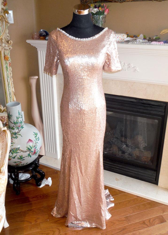 زفاف - Champagne sequin dress, mother of the bride dress, champagne bridesmaid dress, sequin prom dress