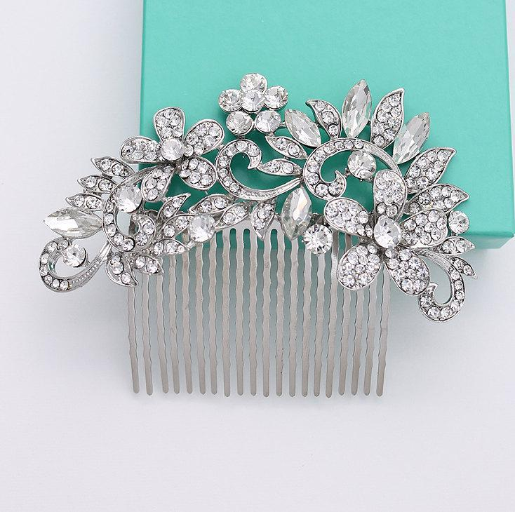 Mariage - Crystal Bridal Comb Rhinestone Silver Hair Piece Bridal Hair Accessories Statement Comb Wedding Combs Jewelry Vintage Style Headpiece