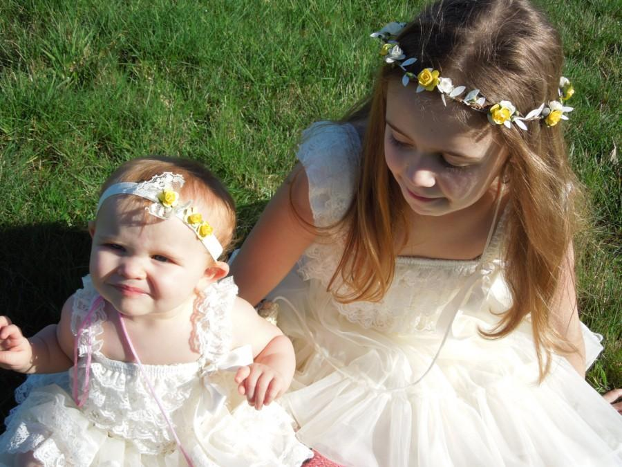 Wedding - Yellow Flower Crown, Baby Flower Girl Headpiece, Lace and Yellow Rose Headband, Flower Girl Crown, Yellow & Ivory Hair Halo, Rose Circlet