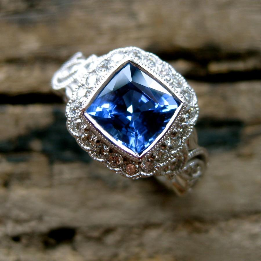 Mariage - Vine Ring with Blue Sapphire and Diamonds in 18K White Gold Vintage Inspired Flower & Leaf Setting Size 4