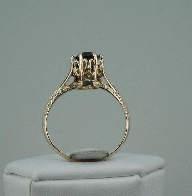 زفاف - Downton Abbey Edwardian Style Natural 1.06 Carat Sapphire Ring in Solid 10K Yellow Gold  -GR2