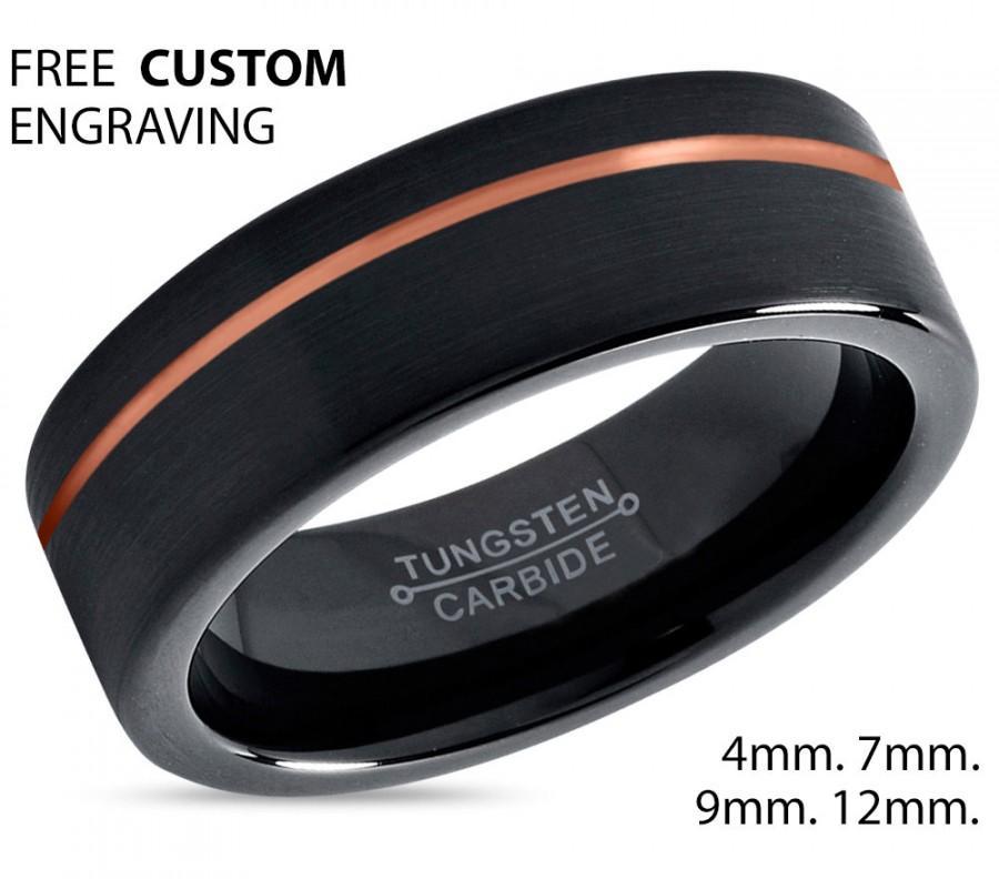 Mariage - Black Tungsten Ring Rose Gold Wedding Band Ring Tungsten Carbide 7mm 18K Tungsten Ring Man Wedding Band Male Women Anniversary Matching