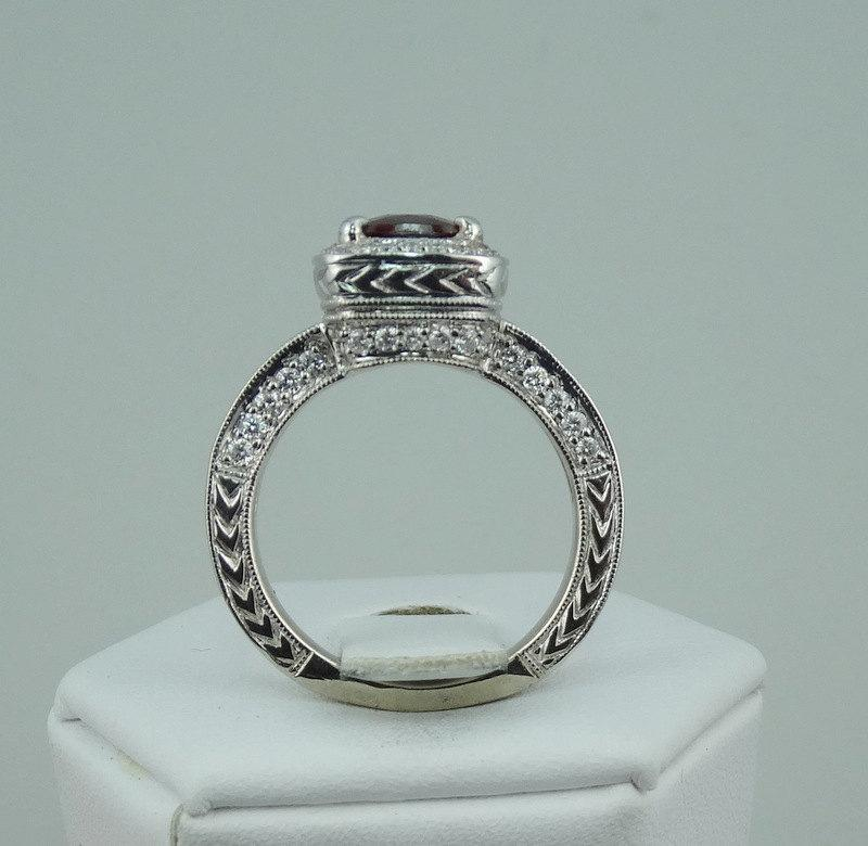 Mariage - Stunning Red Spinel and Round Brilliant Diamonds in a Gorgeous Detailed 14K White Gold Ring  -GR2