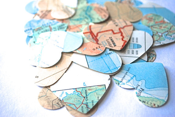 Mariage - Vintage Map Heart Confetti, medium size
