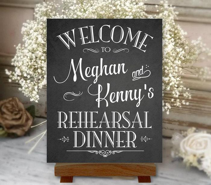 زفاف - Rehearsal Dinner Sign Welcome Chalkboard Printable Personalized with Names (#REH1C)
