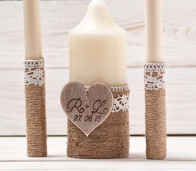 Свадьба - Rustic Unity Candle Set Personalized Wedding Ceremony Candles Unity Ceremony Wedding Decor Rustic Woodland Outdoor