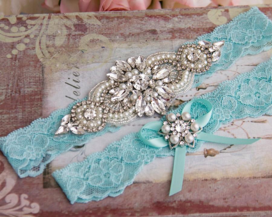 Hochzeit - Aqua Blue Wedding Garter set, Bridal Garter set, Blue Lace Garter set, Rhinestone Garter, Blue Garter, Something Blue Crystal Garter set