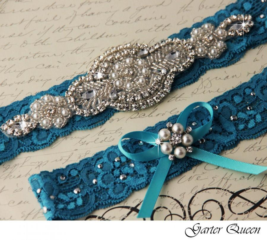 Hochzeit - TURQUOISE Bridal Garter Wedding Garter Set Something Blue Stretch Lace Keepsake and Toss Garters, Rhinestone and Crystal garters