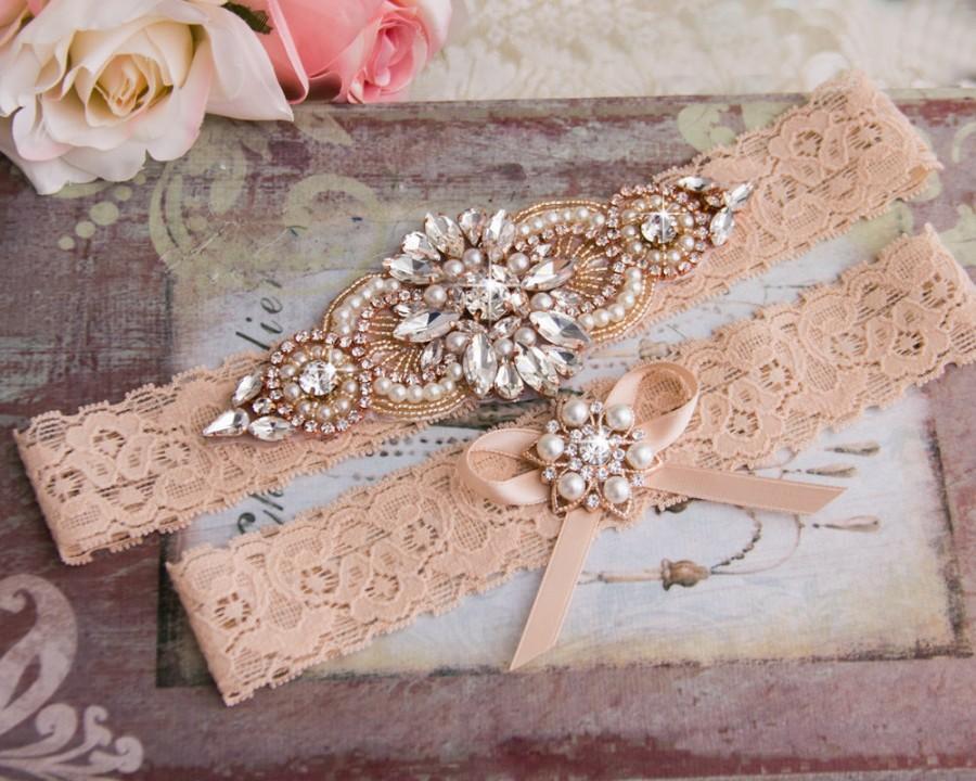 Rose Gold Wedding Garter Set Vintage Blush Bridal Lace Crystal