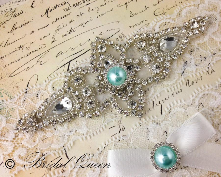 Hochzeit - Wedding garter set,  Bridal Garter set, Heirloom Rhinestone and Crystal garters, Something blue