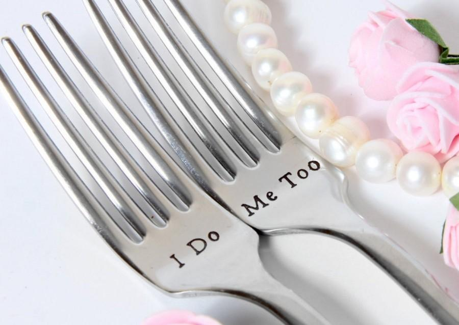 Wedding - Wedding Forks, I Do-Me Too Forks, Wedding Cake Forks, Personalized Forks with Dates on the Handles
